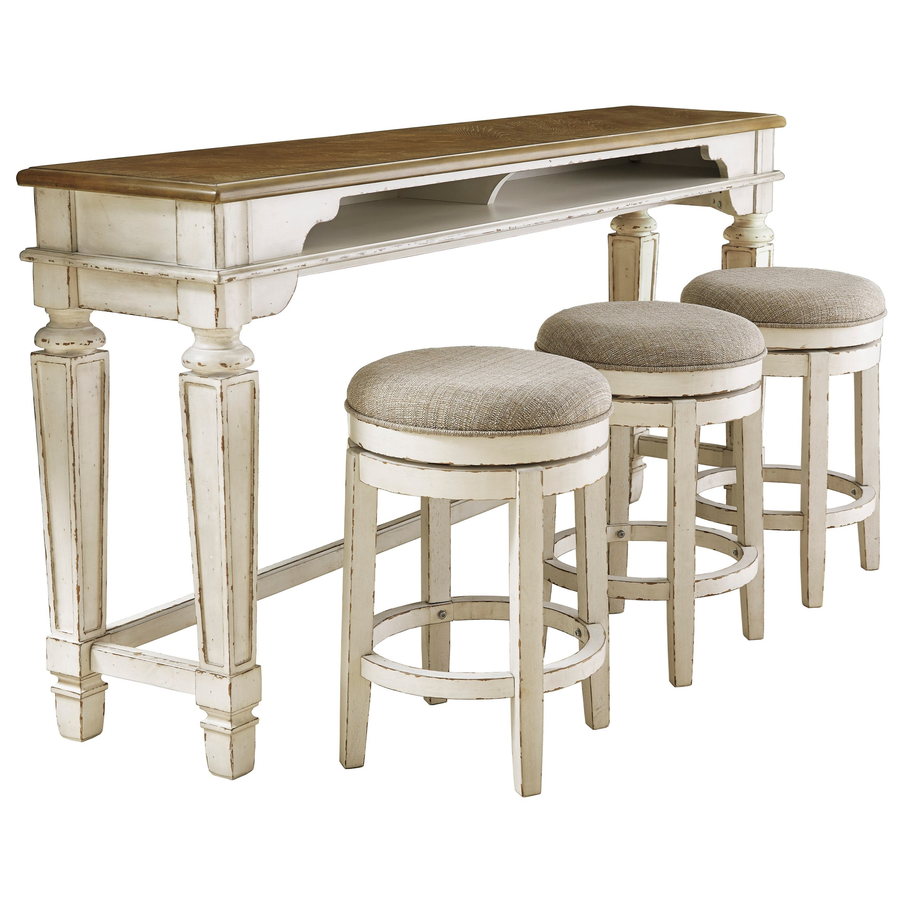 Two-Tone Long Counter Table/Sofa Table w/ 3 Upholstered Swivel Stools