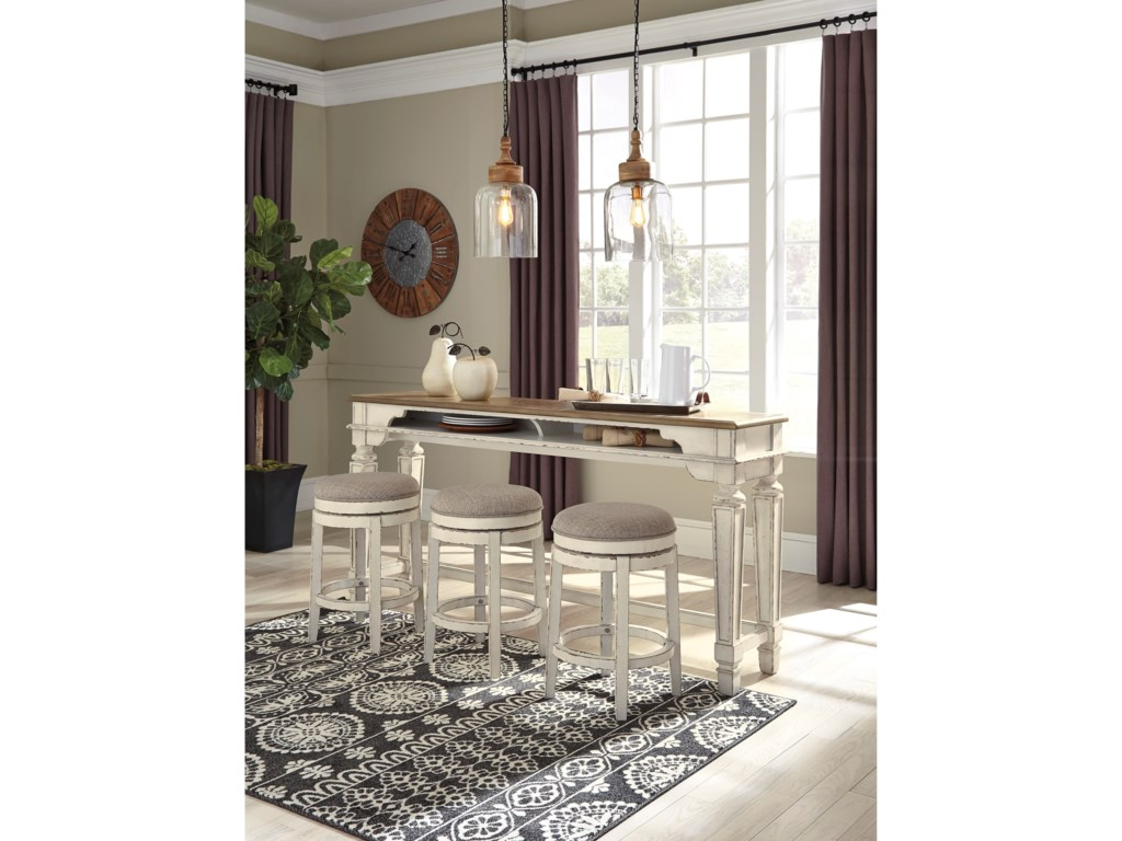 Signature Design by Ashley RealynLong Counter Table w/ 3 Stools