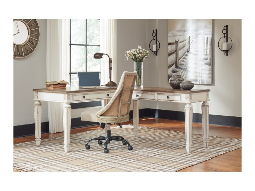 Ashley (Signature Design) RealynL Shape Desk with Lift Top
