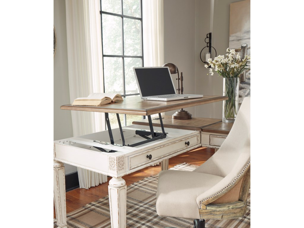 Signature Design by Ashley RealynL Shape Desk with Lift Top