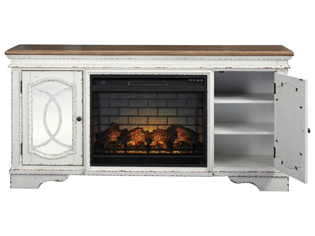Signature Design by Ashley RealynExtra Large TV Stand with Fireplace Insert