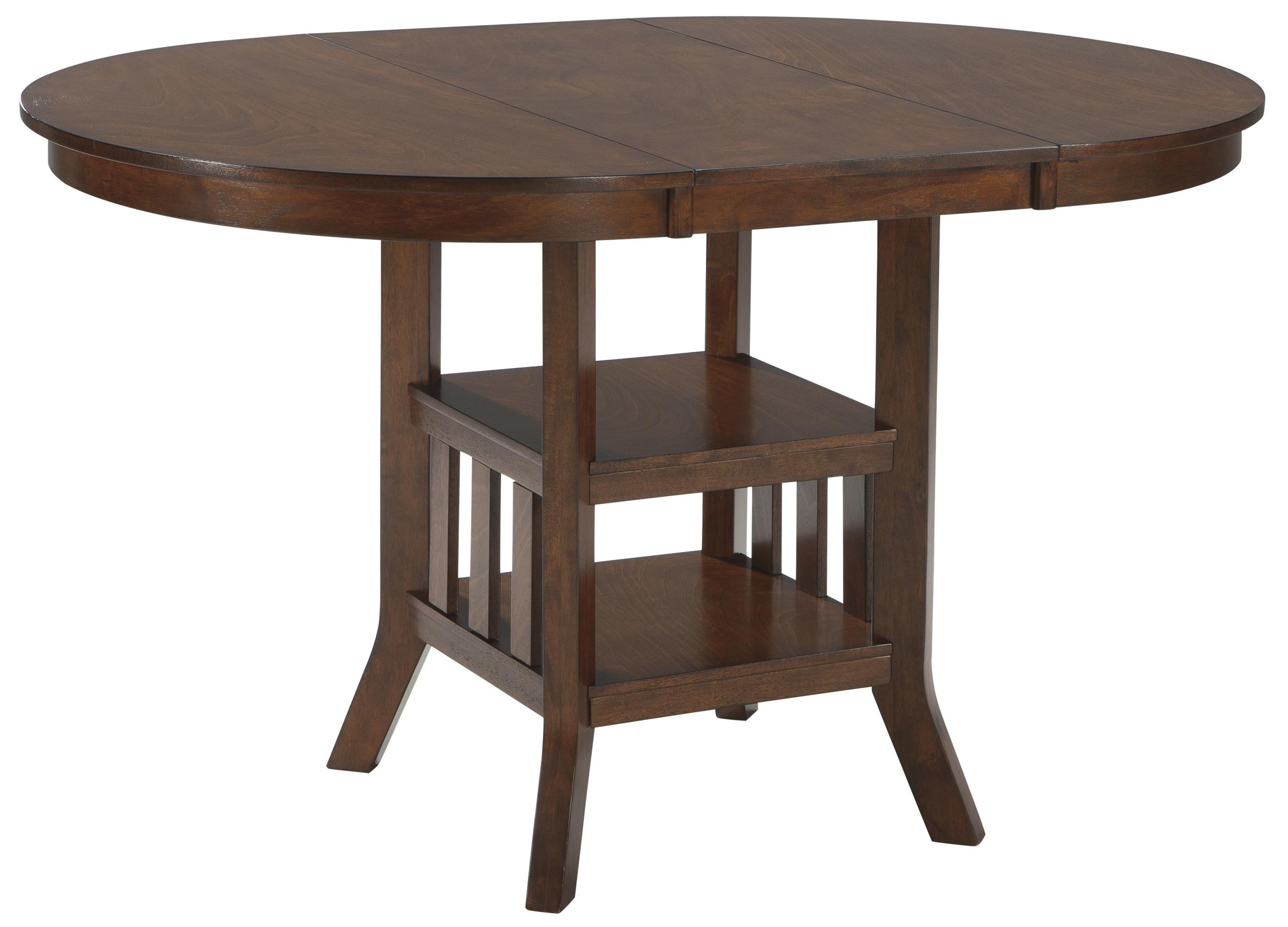 Signature Design By Ashley Renaburg Oval Dining Room Counter Extension Table  With 2 Shelves