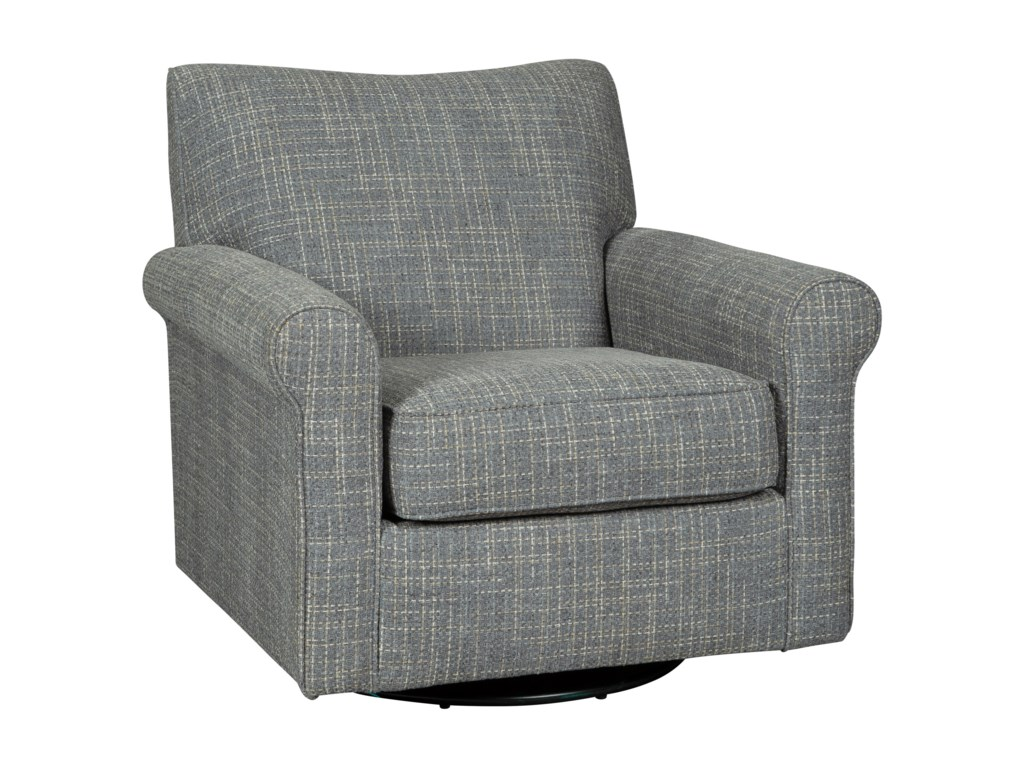 Renley swivel glider accent chair with rolled arms gray fabric by signature design by ashley