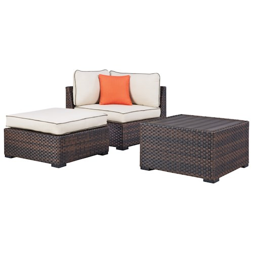 Signature Design by Ashley Renway Corner Chair and Ottoman with Coffee Table