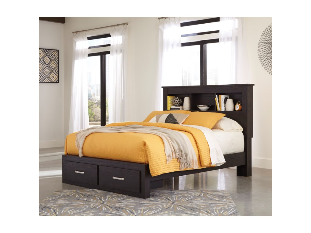Ashley (Signature Design) ReylowQueen Bookcase Bed with Storage Footboard