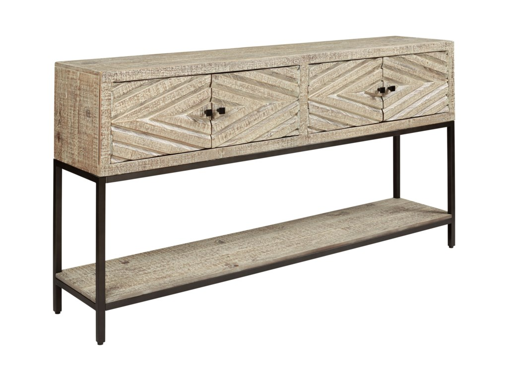 Signature Design By Ashley Roanley A4000262 Console Sofa Table With Carved Door Fronts Sam Levitz Furniture Sofa Tables Consoles
