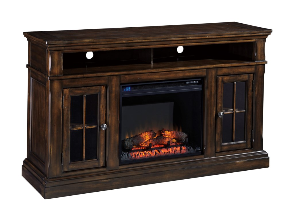 Ashley (Signature Design) RoddintonLarge TV Stand with Fireplace