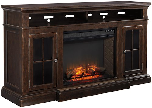 Signature Design by Ashley Roddinton Transitional Extra Large TV Stand w/ Fireplace Insert