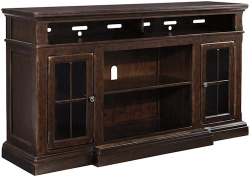 Signature Design by Ashley Roddinton Extra Large TV Stand with Breakfront & 2 Glass Doors