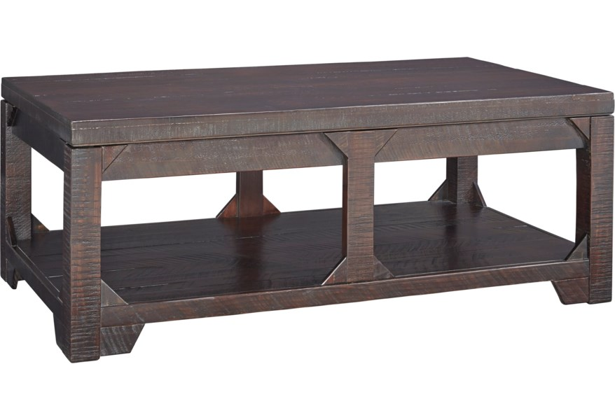 Benchcraft Rogness Rustic Lift Top Cocktail Table With Shelf