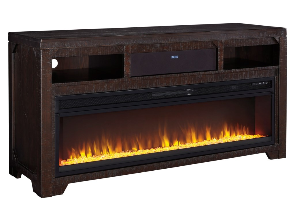 Signature Design by Ashley Rogness Large TV Stand w/ Fireplace ...