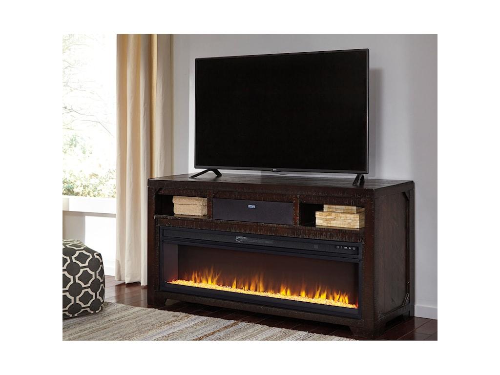 Ashley (Signature Design) RognessLarge TV Stand w/ Fireplace Insert & Speaker
