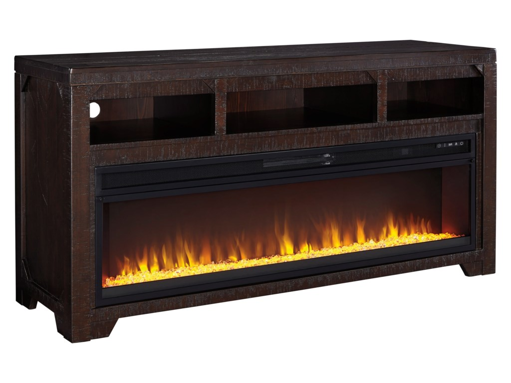 Signature Design by Ashley RognessLarge TV Stand with Fireplace Insert
