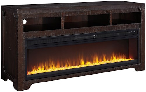 Signature Design by Ashley Rogness Solid Wood Large TV Stand with Fireplace Insert