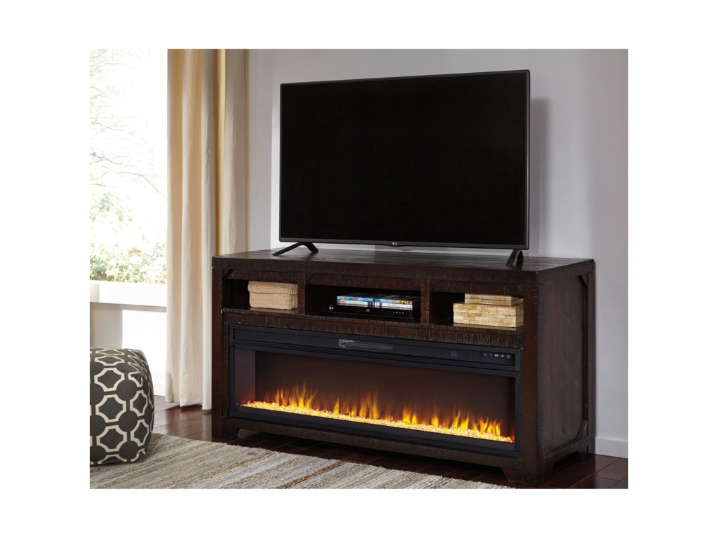 Ashley (Signature Design) Rogness Solid Wood Large TV Stand with ...