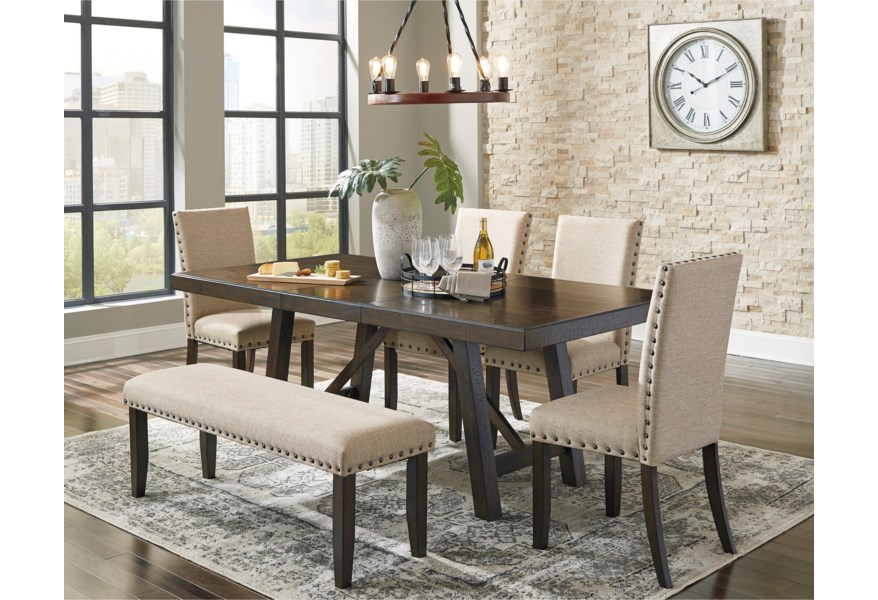 Signature Design By Ashley Rokane Dining Table Set For Six With Bench Reid S Furniture Table Chair Set With Bench