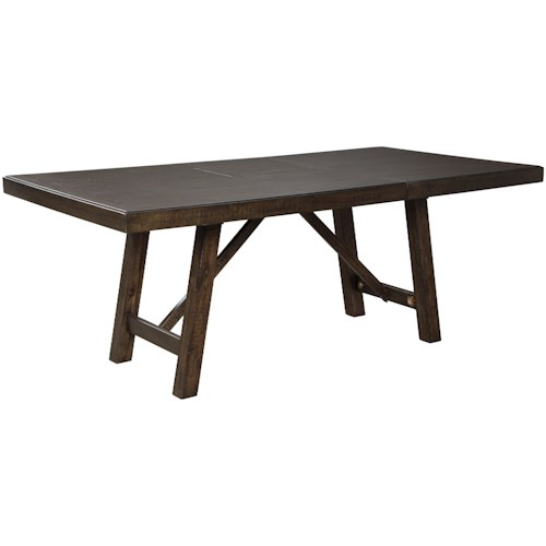 Signature Design by Ashley Rokane Rectangular Dining Table with Extension Leaf
