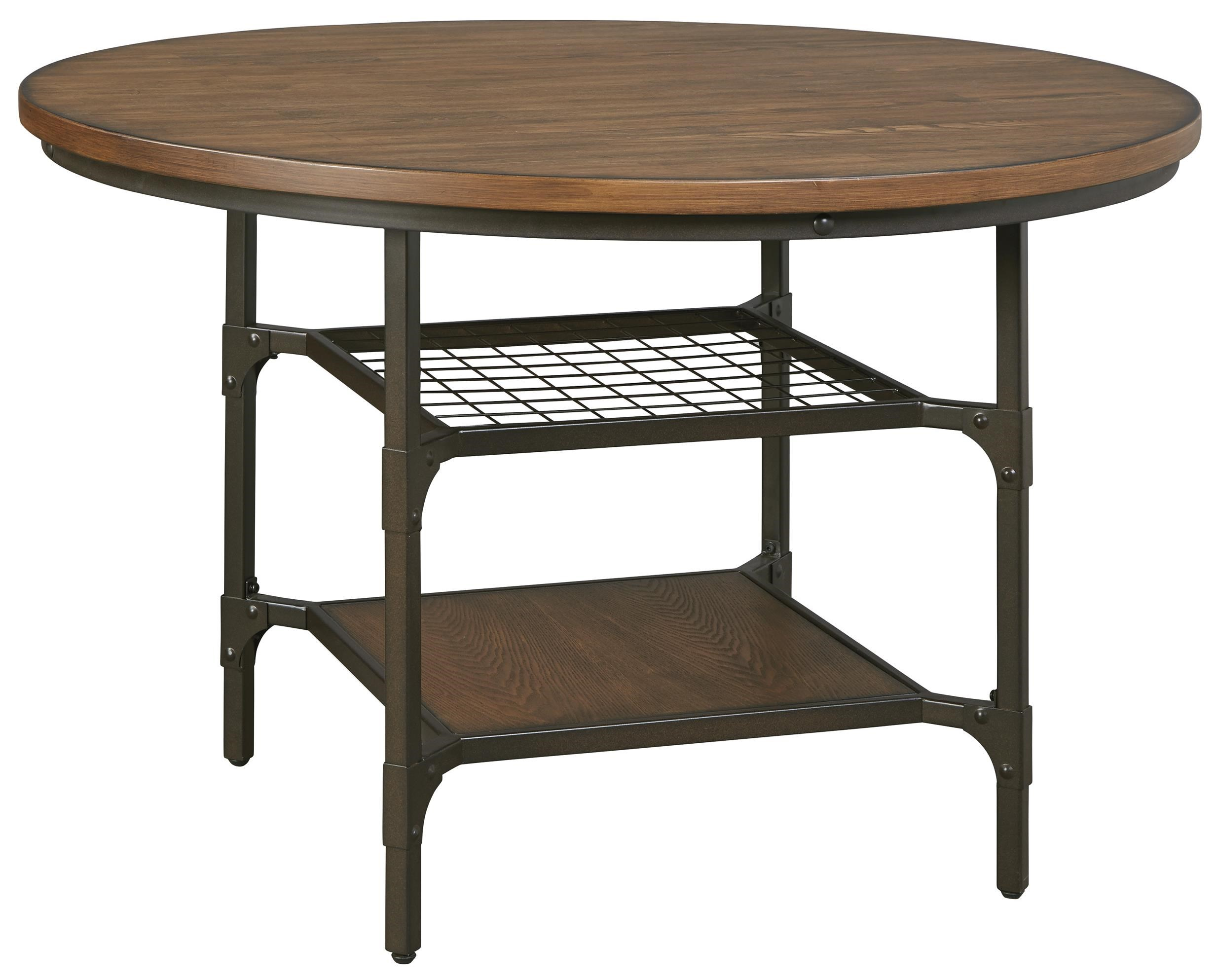 signature design by ashley rolena industrial metalwood round dining room table with 2 shelves