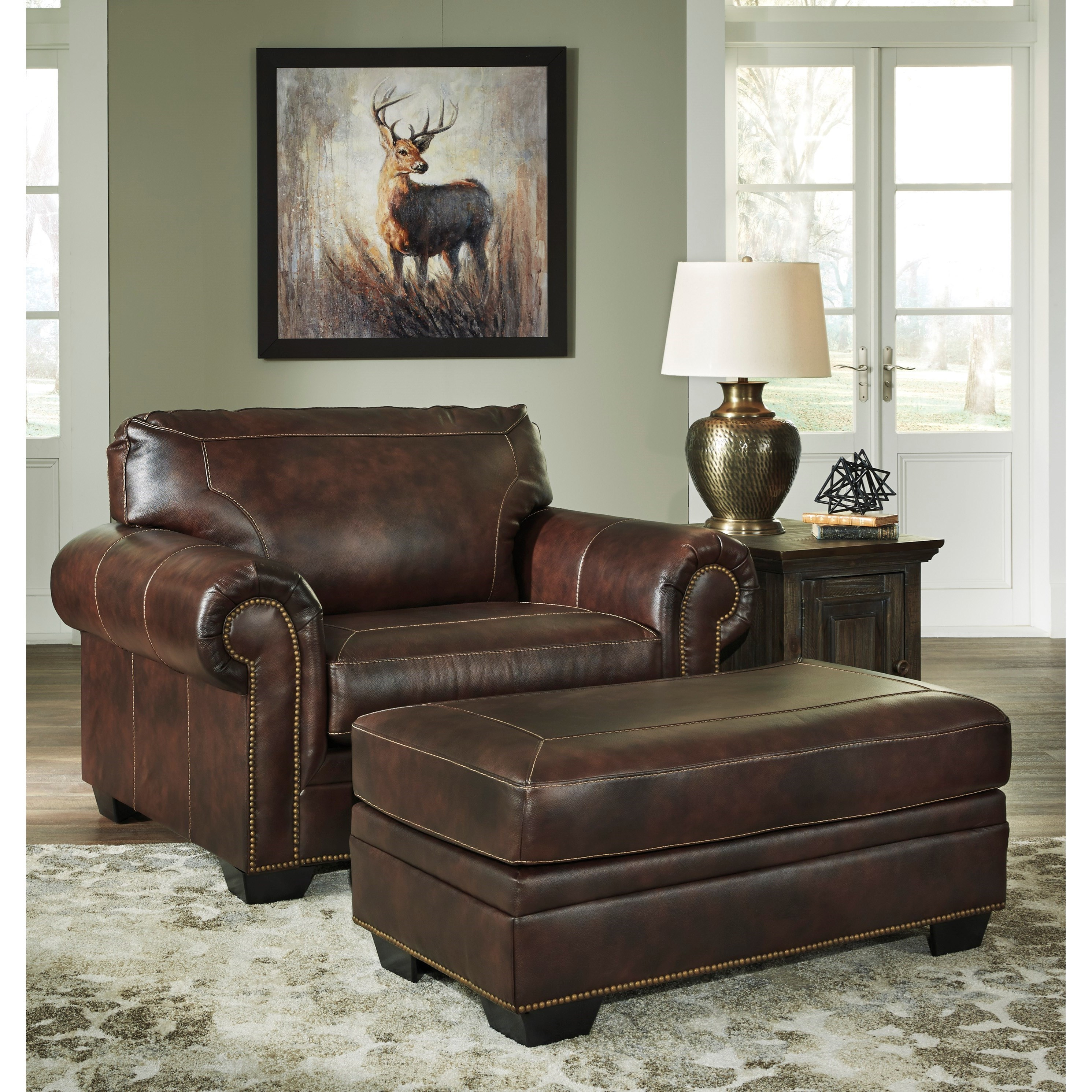 Chair and a Half and Ottoman with Nailhead Trim