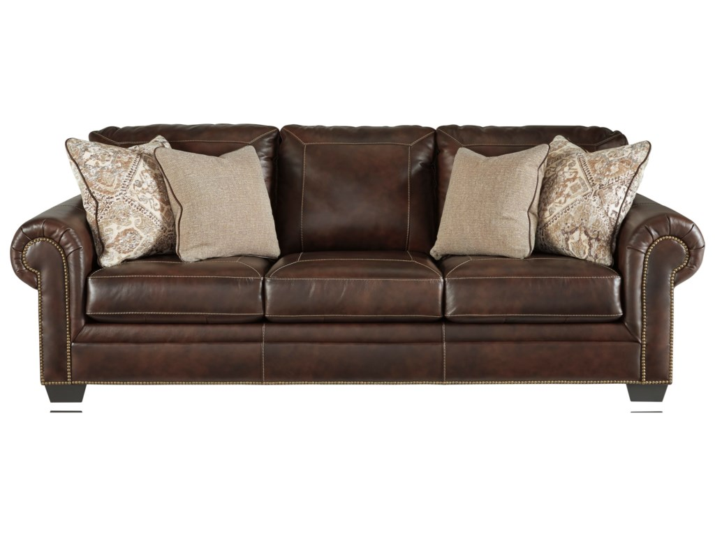 Roleson Transitional Queen Sofa Sleeper with Nailhead Trim by Signature  Design by Ashley at John V Schultz Furniture