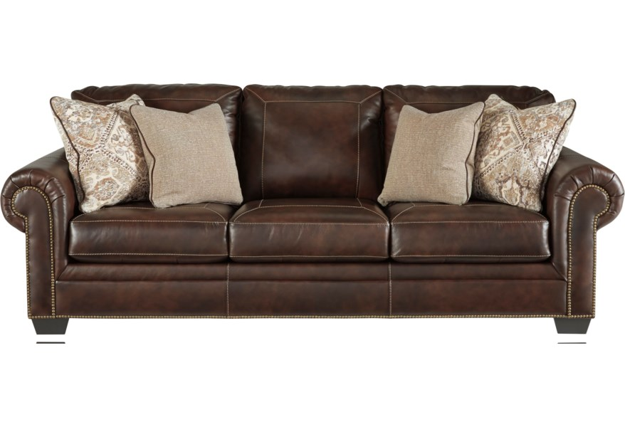 Roleson Transitional Queen Sofa Sleeper with Nailhead Trim by Signature  Design by Ashley at Furniture and ApplianceMart