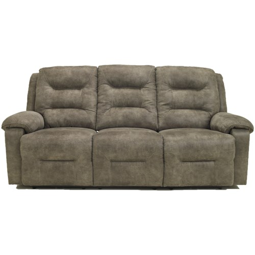 Signature Design by Ashley Rotation - Smoke Contemporary Power Reclining Power Sofa with Chaise Style Leg Rests and Pillow Arms