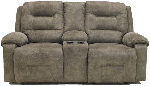 Signature Design by Ashley Rotation - Smoke Contemporary Power Reclining Loveseat w/Console