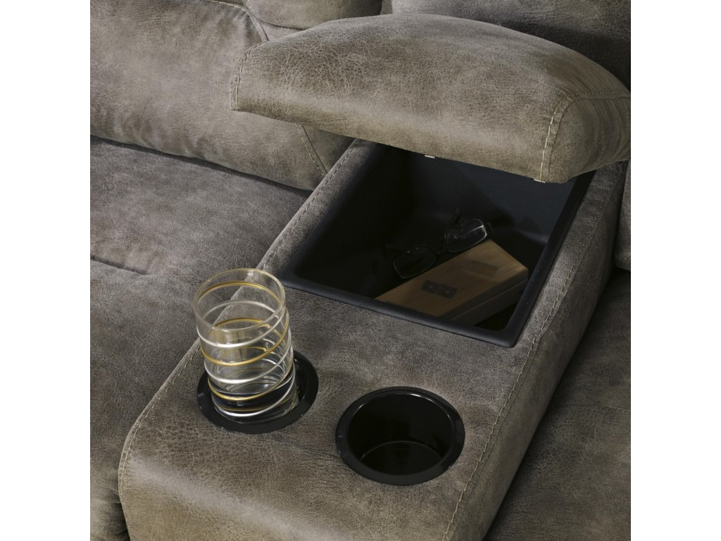 Signature Design by Ashley Rotation - SmokePower Reclining Loveseat w/Console