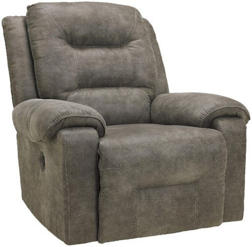Signature Design by Ashley Rotation - Smoke Contemporary Power Rocker Recliner with Pillow Arms