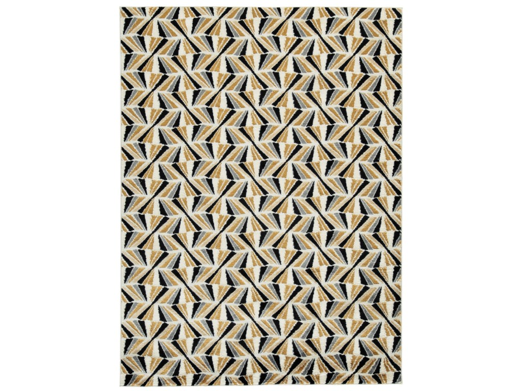 Signature Design by Ashley Contemporary Area RugsJaela Black/Gold/White Large Rug