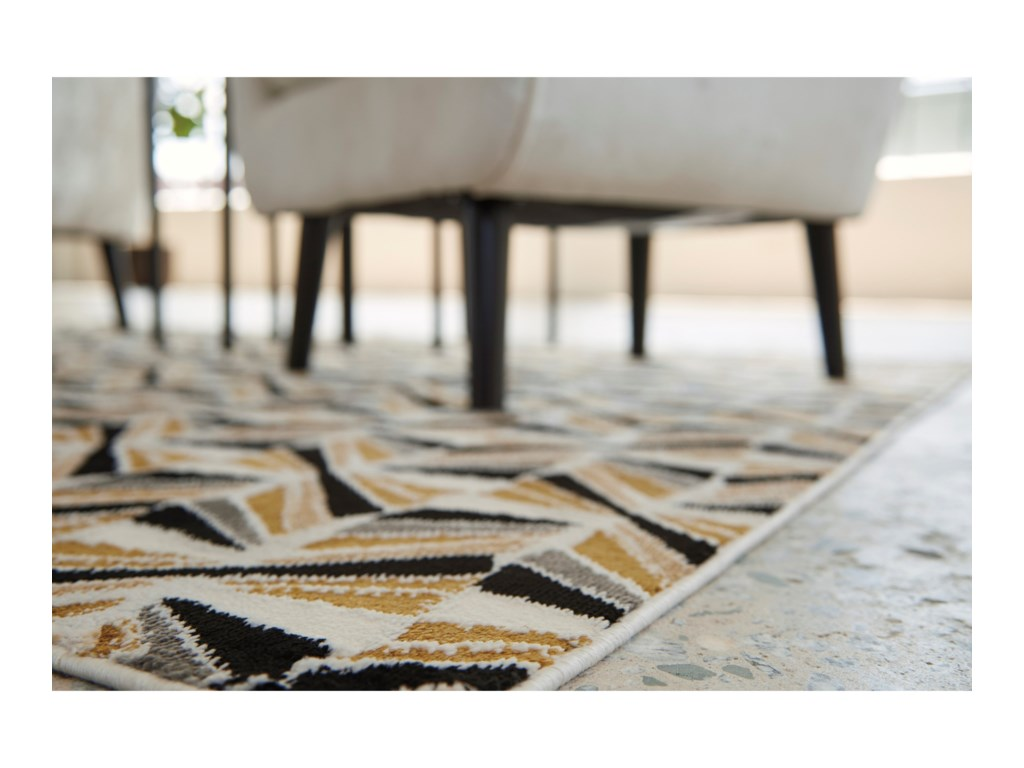 Collection # 4 Contemporary Area RugsJaela Black/Gold/White Large Rug