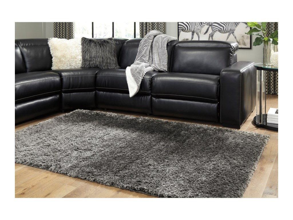 Signature Design By Ashley Contemporary Area Rugs Jumeaux Black Medium Rug Royal Furniture Rugs