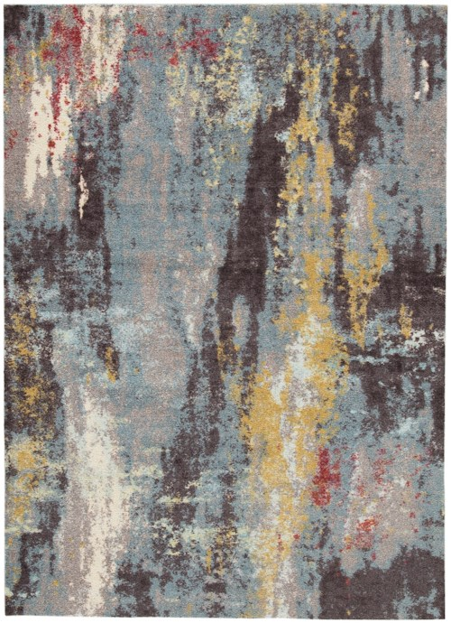 Signature Design by Ashley Contemporary Area Rugs Quent Blue/Gray/Yellow Medium Rug