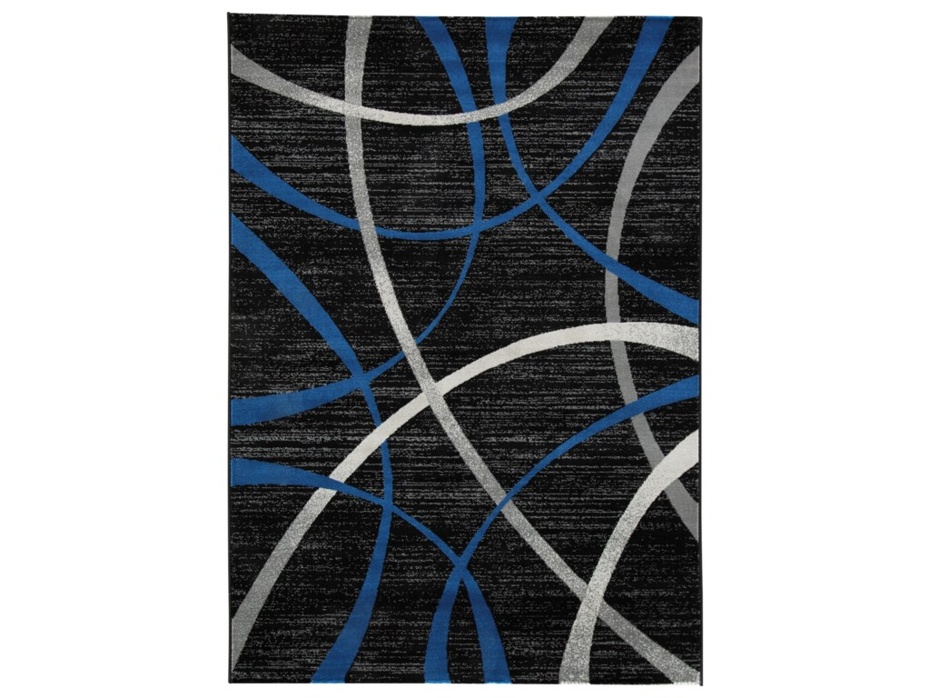 Signature Design By Ashley Contemporary Area Rugs Jenue Black Gray Blue Medium Rug Royal Furniture Rugs