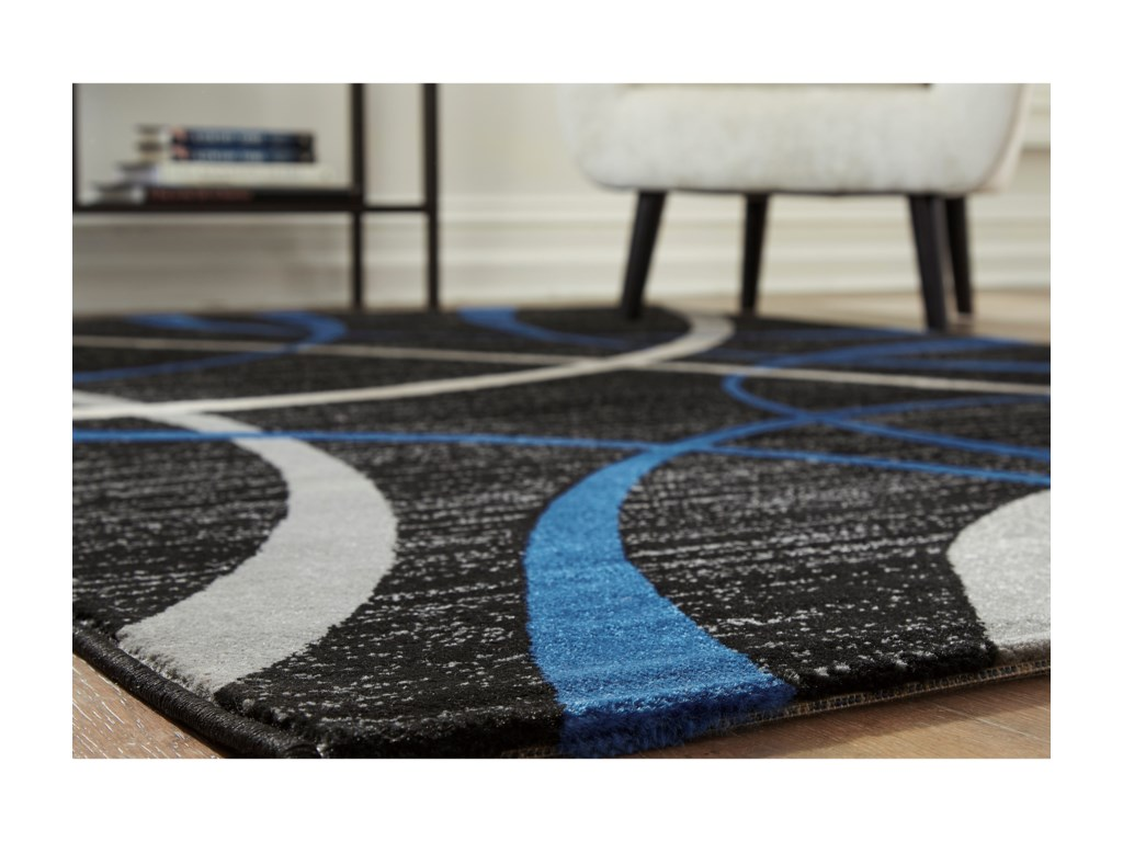 Signature Design by Ashley Contemporary Area RugsJenue Black/Gray/Blue Large Rug