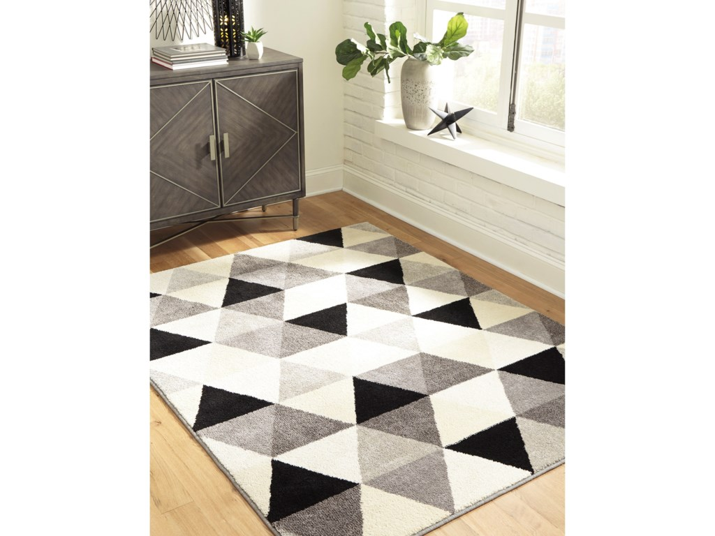 Ashley Signature Design Contemporary Area RugsJamaun Black/Cream Medium Rug