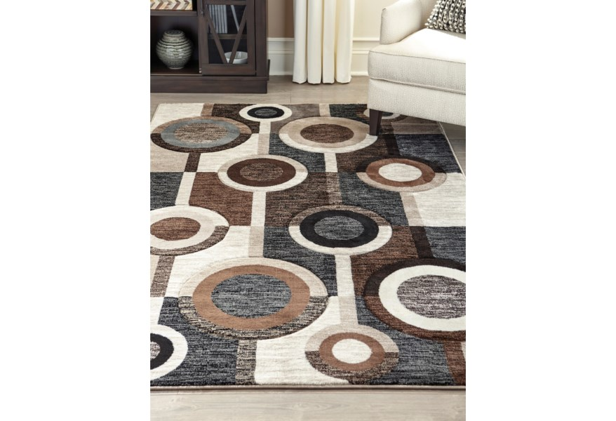 Signature Design By Ashley Contemporary Area Rugs R403971 Guintte Black Brown Cream Large Rug Furniture And Appliancemart Rugs
