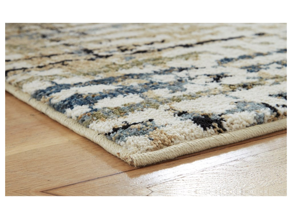 Signature Design by Ashley Contemporary Area RugsMahina Tan/Blue/Cream Medium Rug