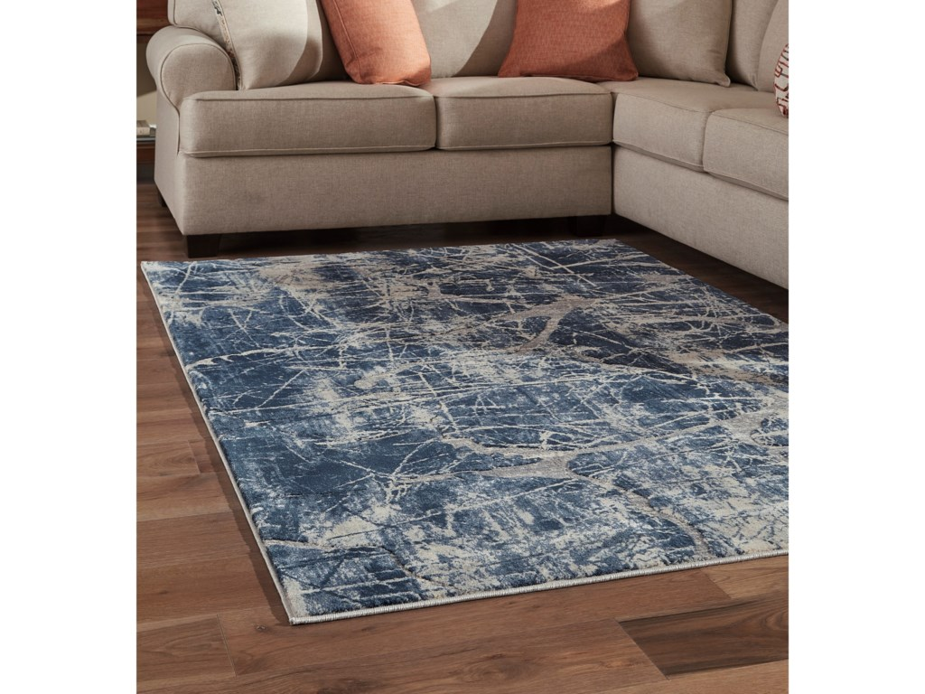 Signature Design by Ashley Contemporary Area RugsTullis Cream/Navy/Gray Large Rug