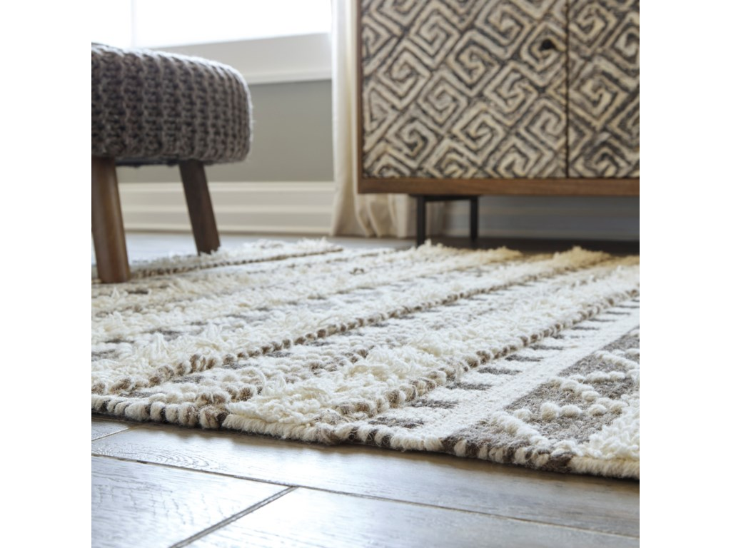 Signature Design By Ashley Contemporary Area Rugs Karalee Ivory Brown Large Rug Conlin S Furniture Rugs