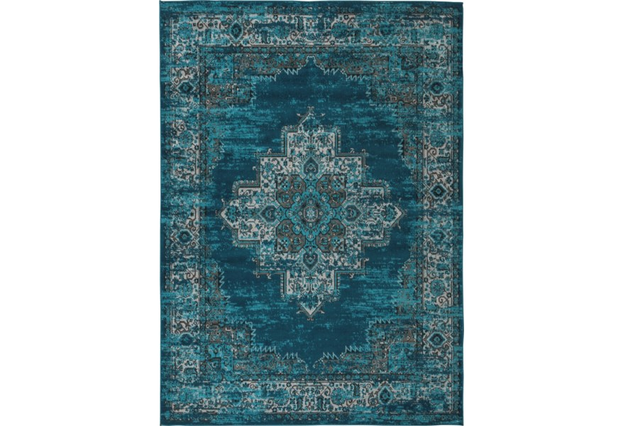 Signature Design By Ashley Traditional Classics Area Rugs R402592 Moore Blue Teal Medium Rug Pilgrim Furniture City Rugs