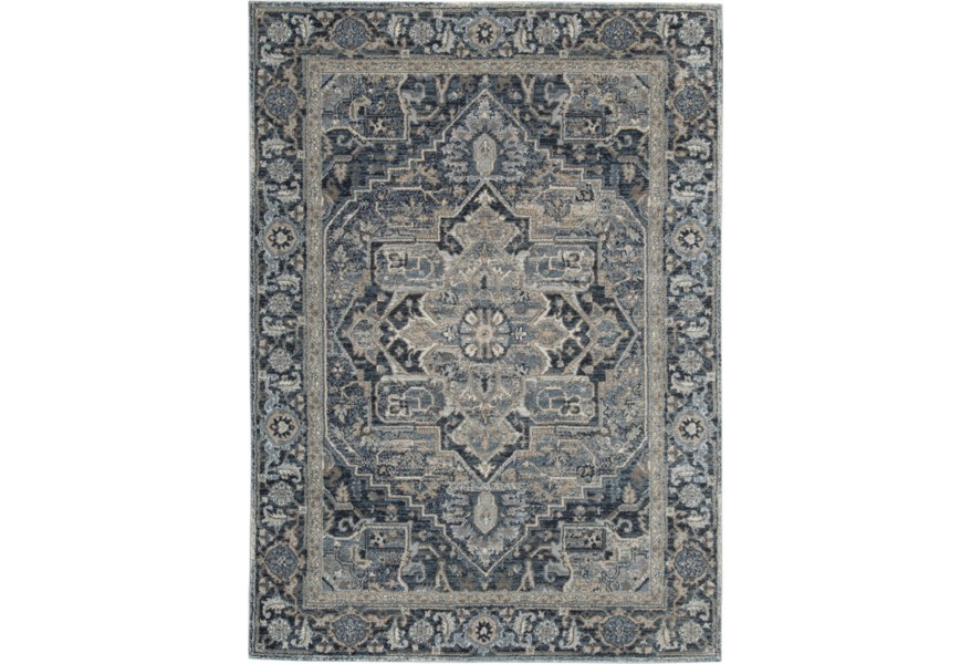 Signature Design By Ashley Traditional Classics Area Rugs R404171 Paretta Cream Navy Gray Large Rug Pilgrim Furniture City Rugs