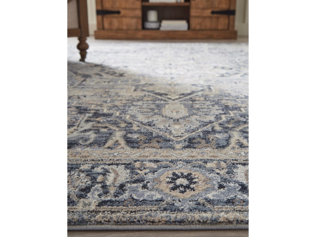 Signature Design by Ashley Traditional Classics Area RugsParetta Cream/Navy/Gray Medium Rug
