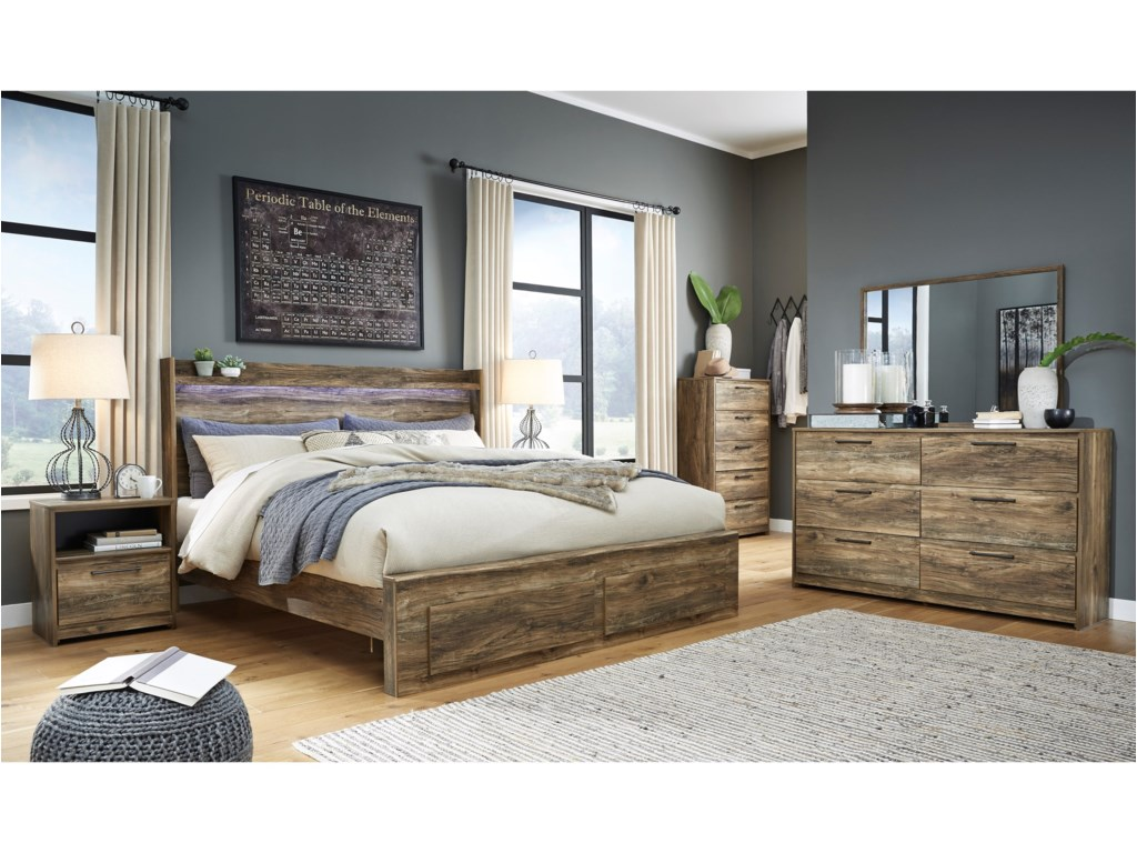 Signature Design by Ashley RusthavenKing Bed with Footboard Drawers