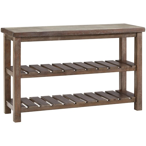 Signature Design by Ashley Vennilux Rustic Casual Sofa Table with 2 Slatted Shelves