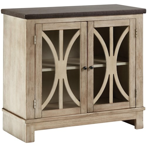 Signature Design by Ashley Vennilux Two-Tone Door Accent Cabinet with Filigree Doors