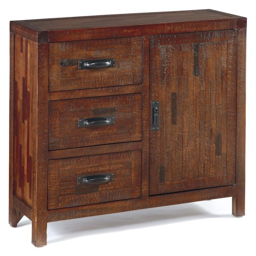 Signature Design By Ashley Vennilux Rustic Accent Cabinet With Pine And Mixed Butcher Block