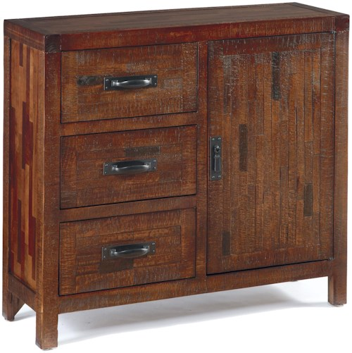 Signature Design by Ashley Vennilux Rustic Accent Cabinet with Pine and Mixed Butcher-Block Veneer
