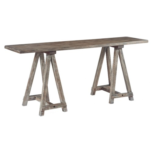 Signature Design by Ashley Vennilux Sawhorse Console in Driftwood Finish