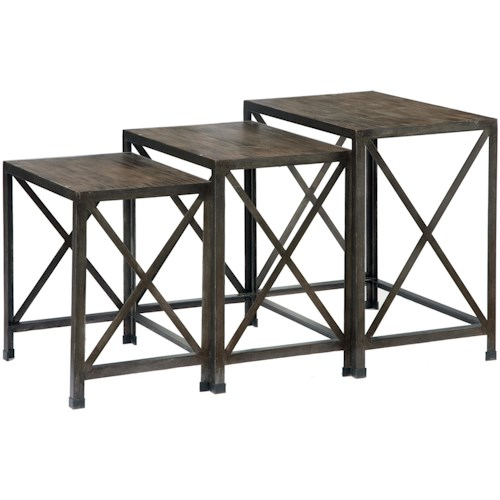 Signature Design by Ashley Vennilux Set of 3 Rustic Metal/Wood Nesting End Tables